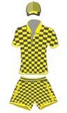 Geplaatste kleren: polooverhemd, honkbal GLB en borrels zwarte en gele kleuren Vectortekeningsillustratie royalty-vrije illustratie