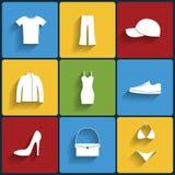 Geplaatste kleren vlakke vectorpictogrammen Royalty-vrije Stock Foto