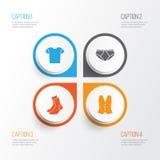 Geplaatste klerenpictogrammen Inzameling van helft-Slang, Memoranda, Vest en Andere Elementen Omvat ook Symbolen zoals Overhemd vector illustratie