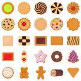 Geplaatste koekjespictogrammen, vlakke stijl royalty-vrije illustratie