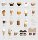 Geplaatste koffie: cappuccino, latte, macchiato en andere stock illustratie