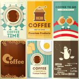 Geplaatste koffieaffiches Stock Foto's