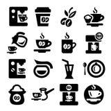 Geplaatste koffiepictogrammen Stock Afbeeldingen