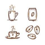 Geplaatste koffietekens Stock Afbeelding