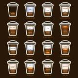 Geplaatste koffietypes stock illustratie