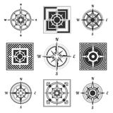 Geplaatste kompaspictogrammen stock afbeelding