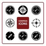 Geplaatste kompaspictogrammen Stock Fotografie