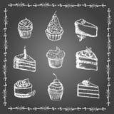 Geplaatste krijtdesserts en bakkerijproducten Stock Afbeelding