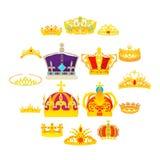Geplaatste kroon koninklijke pictogrammen, beeldverhaalstijl vector illustratie