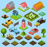 Geplaatste landbouwbedrijf isometrische pictogrammen Stock Fotografie