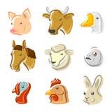 Geplaatste landbouwbedrijfdieren. Vector Stock Afbeeldingen
