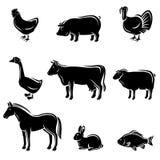 Geplaatste landbouwbedrijfdieren. Vector vector illustratie