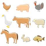 Geplaatste landbouwbedrijfdieren. Vector Royalty-vrije Stock Foto's