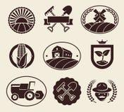 Geplaatste landbouwbedrijfetiketten Vector Royalty-vrije Stock Afbeeldingen