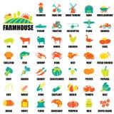 Geplaatste landbouwbedrijfpictogrammen Royalty-vrije Stock Afbeeldingen