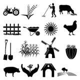 Geplaatste landbouwbedrijfpictogrammen Royalty-vrije Stock Afbeelding