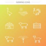 Geplaatste landbouwbedrijfpictogrammen Royalty-vrije Stock Foto