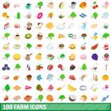 100 geplaatste landbouwbedrijfpictogrammen, isometrische 3d stijl Stock Foto