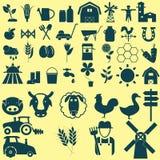 Geplaatste landbouwpictogrammen Royalty-vrije Stock Afbeelding