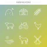 Geplaatste landbouwpictogrammen Royalty-vrije Stock Foto
