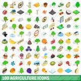 100 geplaatste landbouwpictogrammen, isometrische 3d stijl Royalty-vrije Stock Afbeeldingen