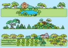 Geplaatste landschapselementen Hand getrokken schetsmatige bomen, stock illustratie