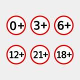 Geplaatste leeftijdsgrens vectorpictogrammen Stock Fotografie