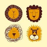 Geplaatste leeuwbundel - grappige vectorkaraktertekening stock illustratie