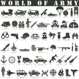 Geplaatste legerpictogrammen stock illustratie