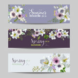 Geplaatste lelie en Anemone Flowers Floral Banners en Markeringen Stock Fotografie