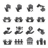 Geplaatste liefdadigheidspictogrammen Stock Afbeelding