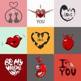 Geplaatste liefdekaarten Stock Foto