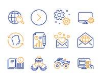Geplaatste liefdepost, Webpost en Internet-onderzoekspictogrammen Door:sturen, Instructieinformatie en de tekens van Gezichtsiden vector illustratie