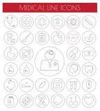 Geplaatste lijn Vlakke Medische Pictogrammen Vector/EPS10 Royalty-vrije Stock Afbeeldingen