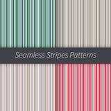 Geplaatste lijnachtergronden Groene rode blauwe bruine beige purpere en witte strepenvector Naadloze patroonillustratie Stock Afbeelding