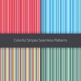 Geplaatste lijnachtergronden Rood roze oranje blauwgroen geel en wit strepen vector naadloos patroon Royalty-vrije Stock Afbeelding