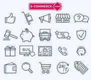 Geplaatste lijnenpictogrammen, elektronische handel, het winkelen Royalty-vrije Stock Foto