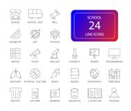 Geplaatste lijnpictogrammen Schoolpak Stock Foto