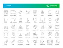 Geplaatste lijnpictogrammen Schoolpak Stock Foto's