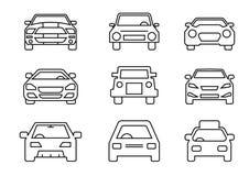 Geplaatste lijnpictogrammen, vervoer, Auto voor, vectorillustraties vector illustratie