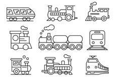 Geplaatste lijnpictogrammen, vervoer, Trein, vectorillustraties royalty-vrije illustratie