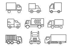 Geplaatste lijnpictogrammen, vervoer, Vrachtwagen, vectorillustraties royalty-vrije illustratie