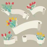 Geplaatste linten en bloemen - Vectorillustratie Stock Foto