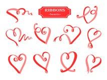 Geplaatste lintenharten Rode linten mooie elementen voor uw ontwerp vector illustratie