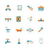 Geplaatste loodgieterswerkpictogrammen Stock Foto
