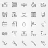 Geplaatste loodgieterswerkpictogrammen Stock Afbeelding