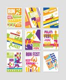 Geplaatste looppas fest affiches, lopende marathon, sport en element van het de concurrentie het kleurrijke ontwerp voor kaart, b royalty-vrije illustratie