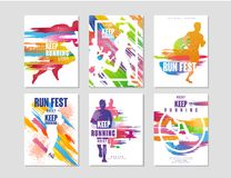 Geplaatste looppas fest affiches, sport en de concurrentieconcept, lopende marathon, kleurrijk ontwerpelement voor kaart, banner, royalty-vrije illustratie