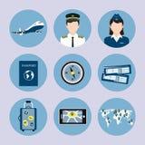 Geplaatste luchtvaartlijnpictogrammen Royalty-vrije Stock Foto