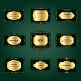 Geplaatste luxe gouden kaders en etiketten Stock Foto's